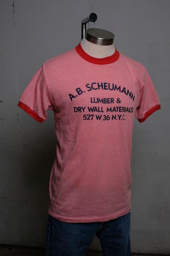 Vintage 80's A.B. Scheumann Lumber & Drywall Saw T Shirt New York City! Rare! EX!