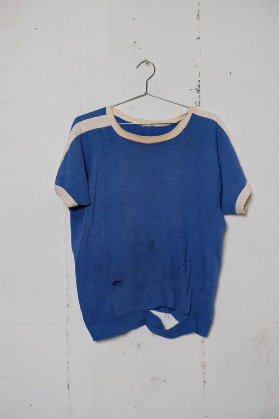 Vintage 60's Two-Tone Short Sleeve Sweatshirt Thrashed! Mega Soft! Beat! M