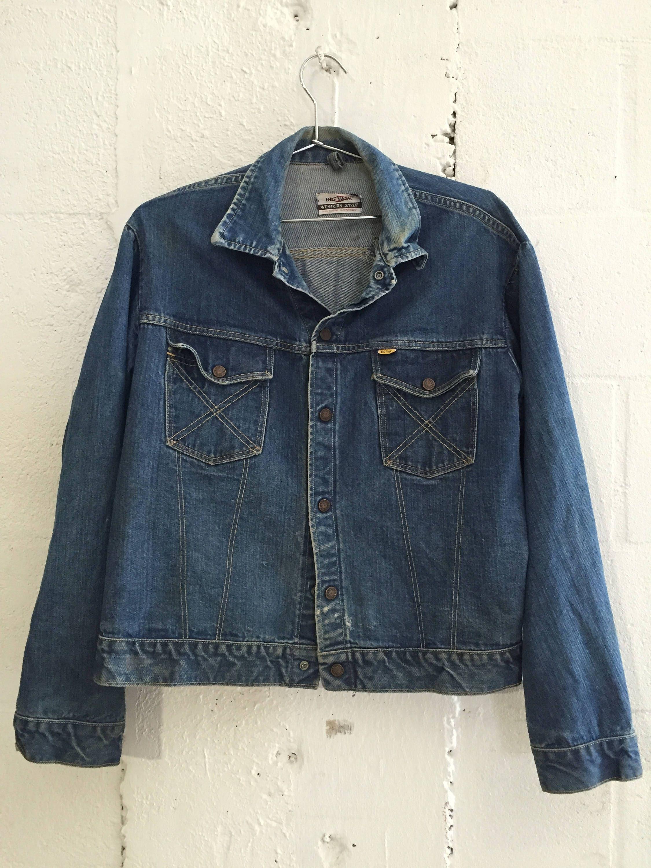 49bfd3fccc7a Vintage Big Yank Selvedge Sanforized Denim Jacket Western Style M 0727