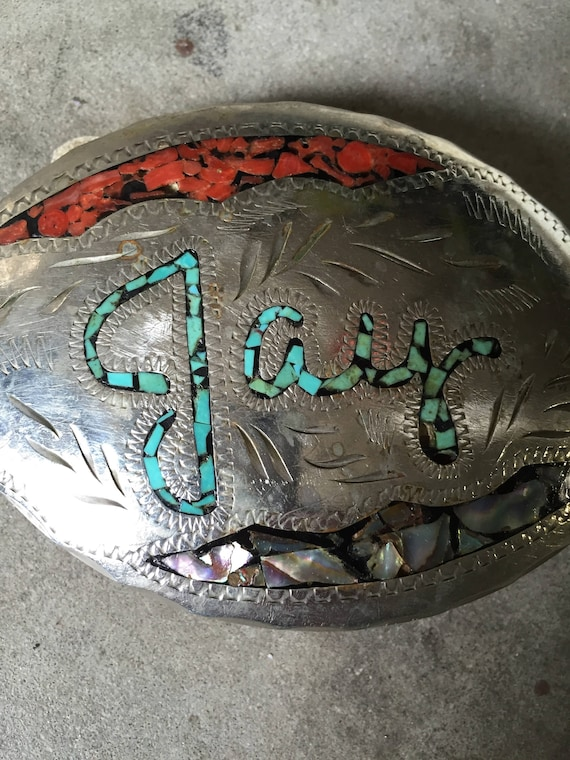 """Vintage Dale of Arizona German Silver Western Belt Buckle """"JAY"""" Turquoise Coral Abalone Inlay"""