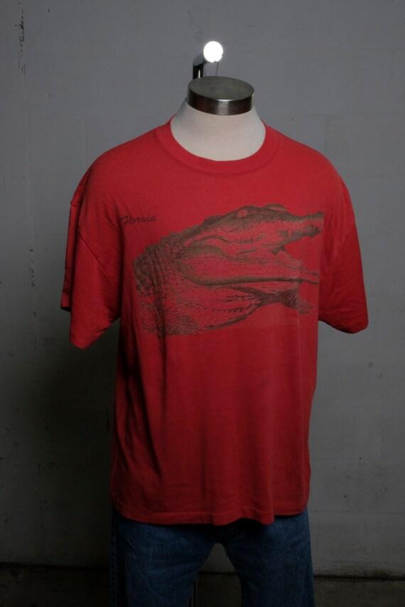 Vintage 80's Florida Tourist T Shirt Aligator Soft! Thin! Burnout!