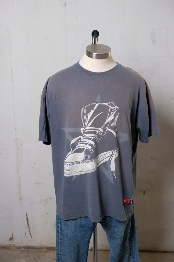 Vintage 90's Converse All Star Chuck Taylor Sneaker T Shirt Thrashed! Soft! Sun Faded! XL