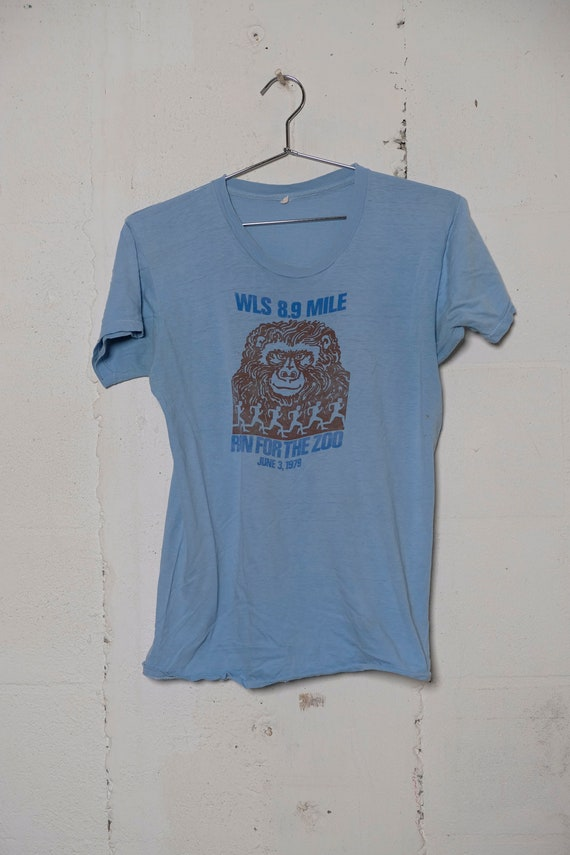 Vintage 1979 WLS Chicago 8.9 Mile Run For The Zoo T Shirt Radio! Rare! L