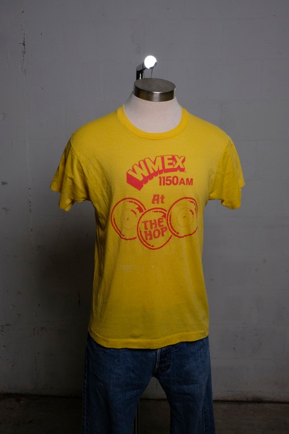 Vintage 80's WMEX Radio Station At The Hop T Shirt Soft! Paper Tag! L