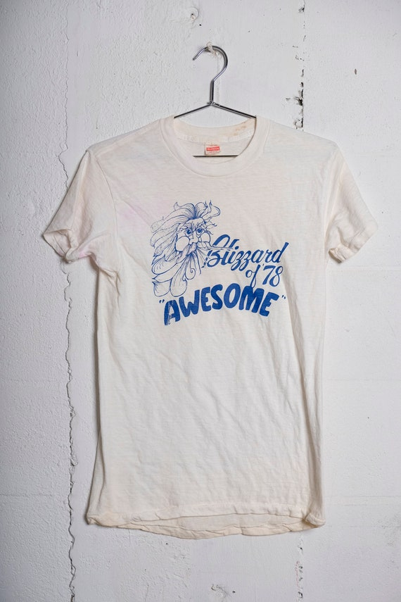 Vintage 70's Blizzard of '78 T Shirt Rare! Soft! Awesome! Healthknit L