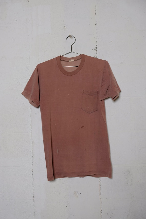 Vintage 80's Towncraft Sun Faded Pocket T Shirt Thrashed! Soft! M