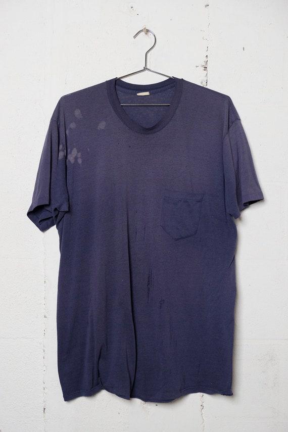 Vintage 90's Sun faded Blue Pocket T Shirt Thrashed! Soft! Beat! Thin! XXL