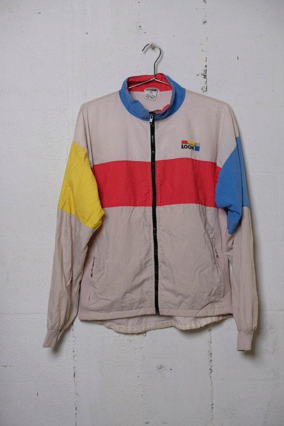 Vintage 80's LOOK Light Nylon Track Jacket Lined Rare! Primary! M
