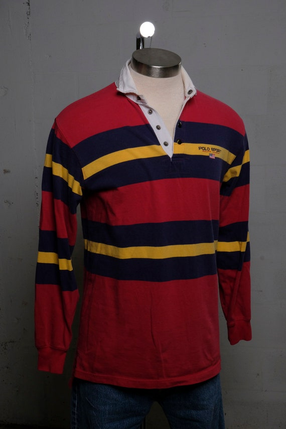 Vintage 90's Polo Ralph Lauren Rugby Ivy Style Pullover LS Polo Shirt L