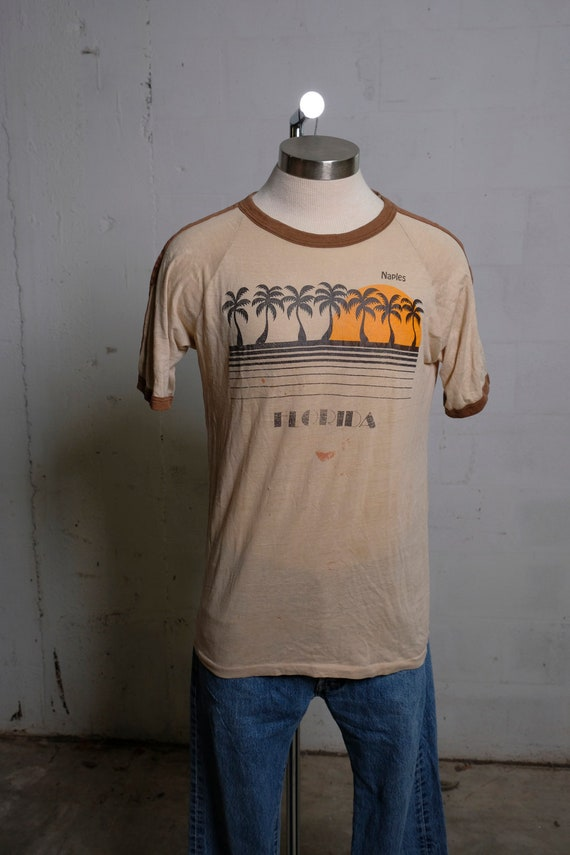 Vintage 70's Naples Florida Tourist T Shirt Thrashed! Soft! Thin! L