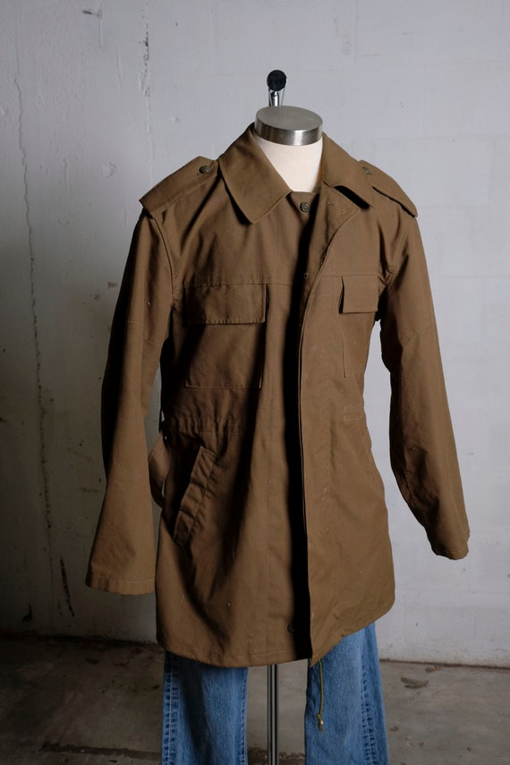 Vintage 80s European Military Belted Light Weight Trench Coat