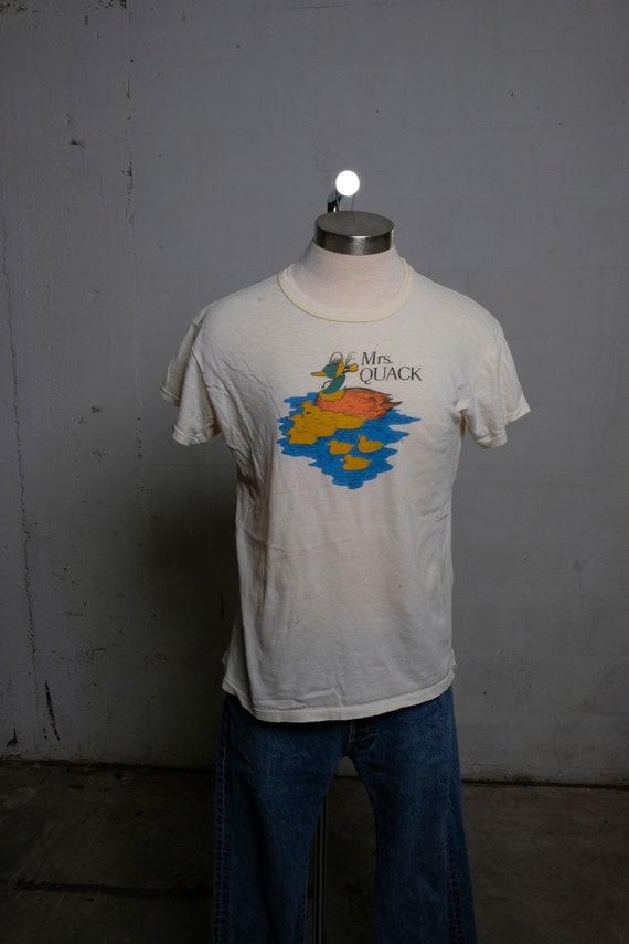 Vintage 80's Mrs. Quack Duck T Shirt Burnout! Thrashed! Soft! Thin!