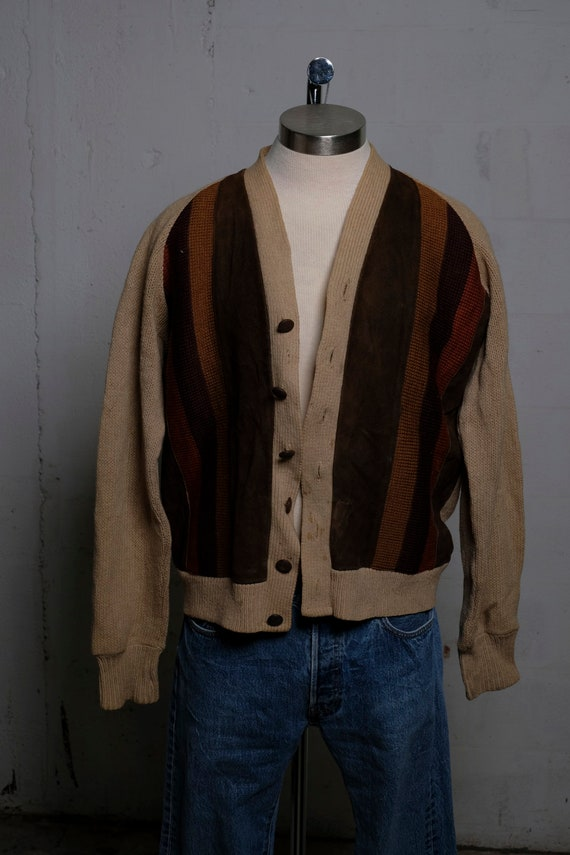 Vintage 1950's Mens 2-Ply Wool Button & Suede Accented Cardigan L