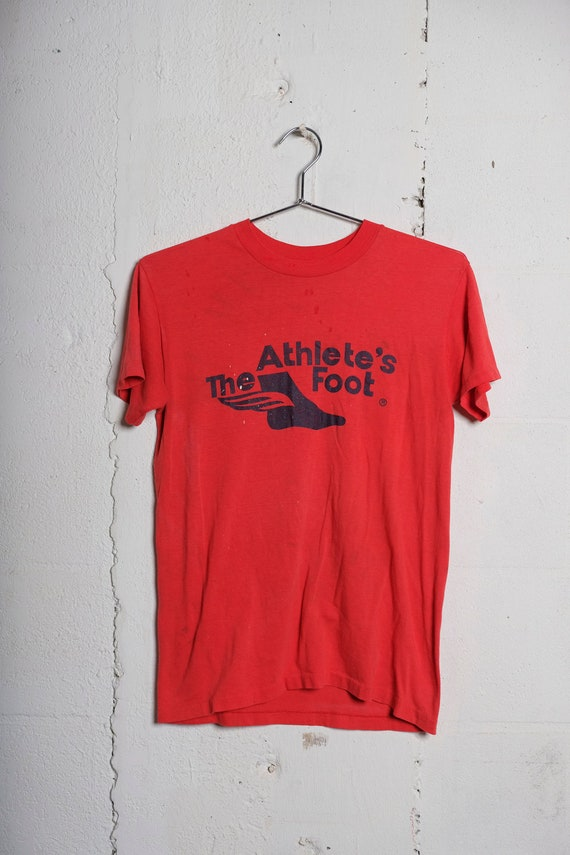 Vintage 80's The Athlete's Foot Sneaker Store T Shirt Soft! Thin! Thrashed! M