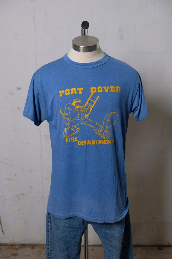 Vintage 80's Port Dover Fire Department T Shirt Keep On Truckin! Rare! L