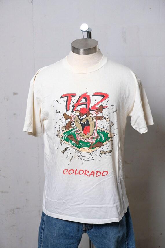 Vintage 1992 Taz Colorado Baseball T Shirt Velva Sheen! Rare! Thrashed! L