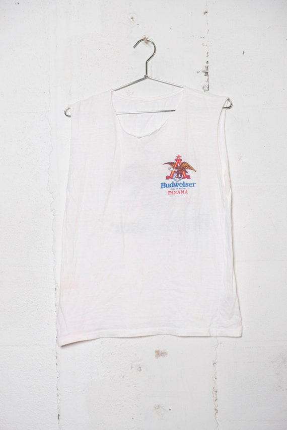 Vintage 90's Budweiser Beer Panama T Shirt Soft! Sleeveless! M