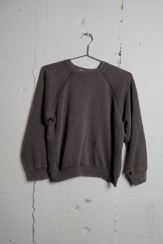 Vintage 80's Tultex Made In USA Sun Faded Gray Sweatshirt Thrashed! Soft! M