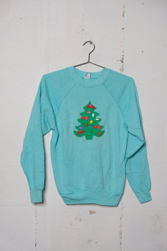 Vintage 80's Ugly Christmas Tree Homemade Sweatshirt S