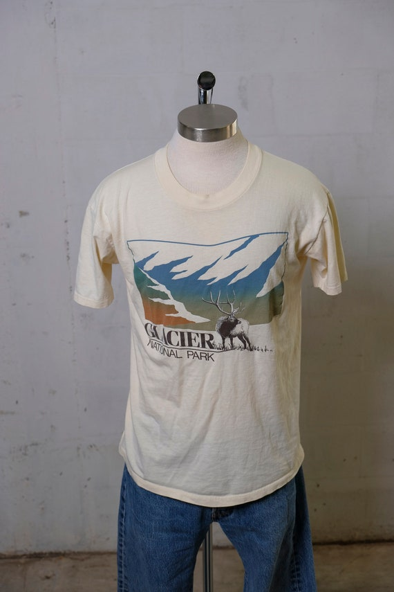 Vintage 80's Glacier National Par Destination T Shirt Soft! L