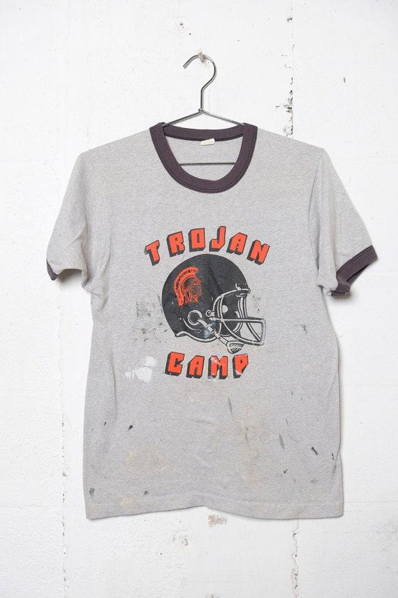 Vintage 80's Trojan Football Camp Ringer T Shirt Thrashed! Splattered! L