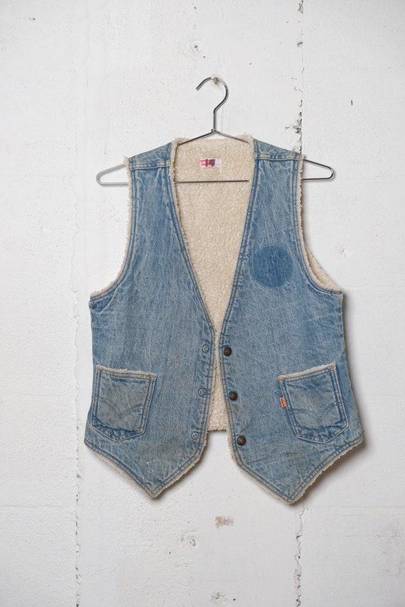 Vintage 70's Levi's Orange Tab Shearling Lined Snap Button Denim Vest Rare! M