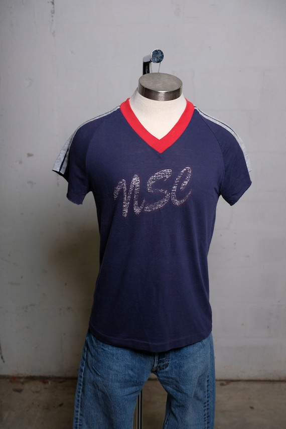 Vintage 70's NSC Jersey Style T Shirt Soft! Thrashed! Thin! Swingster! L