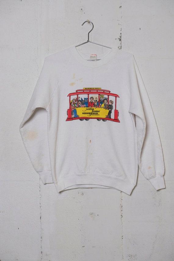Vintage 80's Mr. Rogers' Neighborhood Character Trolley Sweatshirt Rare! Thrashed! L