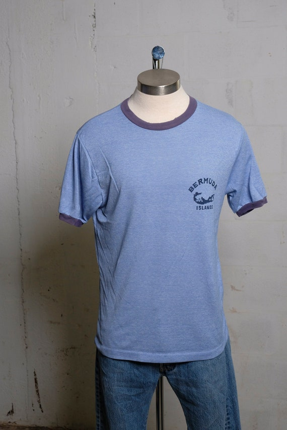 Vintage 80's Bermuda Islands Ringer T Shirt Soft! L