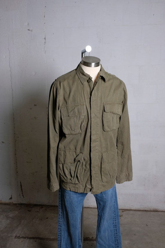 Vintage 70's US Army Tropical Field Jacket Olive Green M