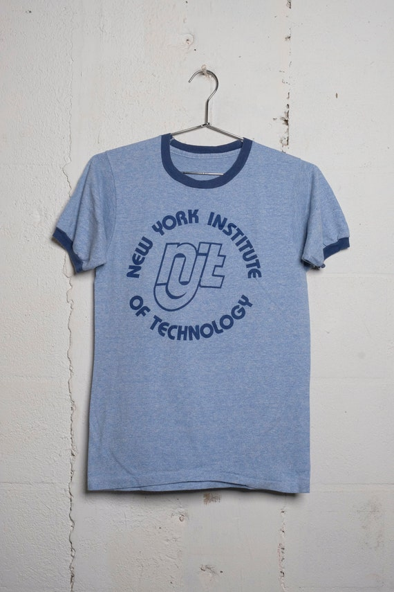Vintage 80's NYIT New York Institute of Technology Ringer T Shirt Soft! S