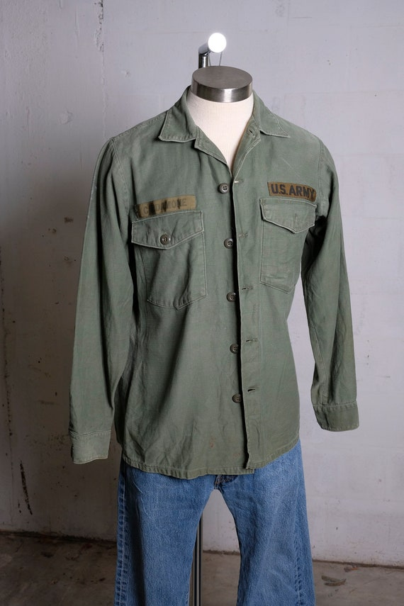 Vintage 70's US Army Field Shirt Olive Green 15.5 x 33