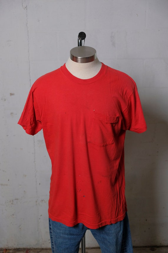 Vintage Fruit Of The Loom Pocket T Shirt Thrashed! Faded! Soft! Thin! XL