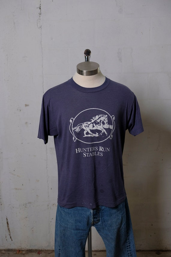 Vintage 80's Hunters Run Stables T Shirt Paper Thin! Soft! S