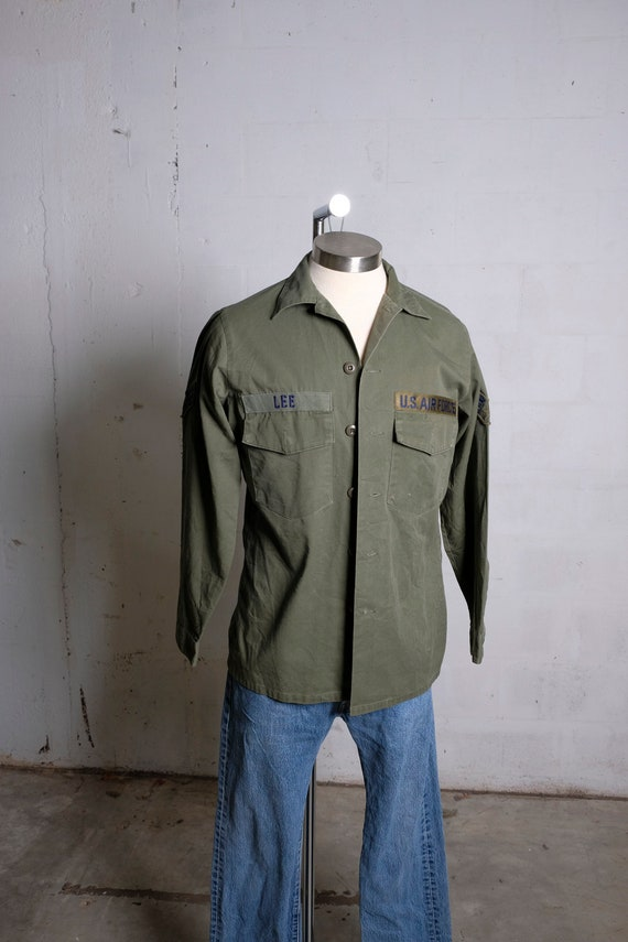 Vintage 70's US Airforce Utility Shirt Olive Green 15.5 x 33