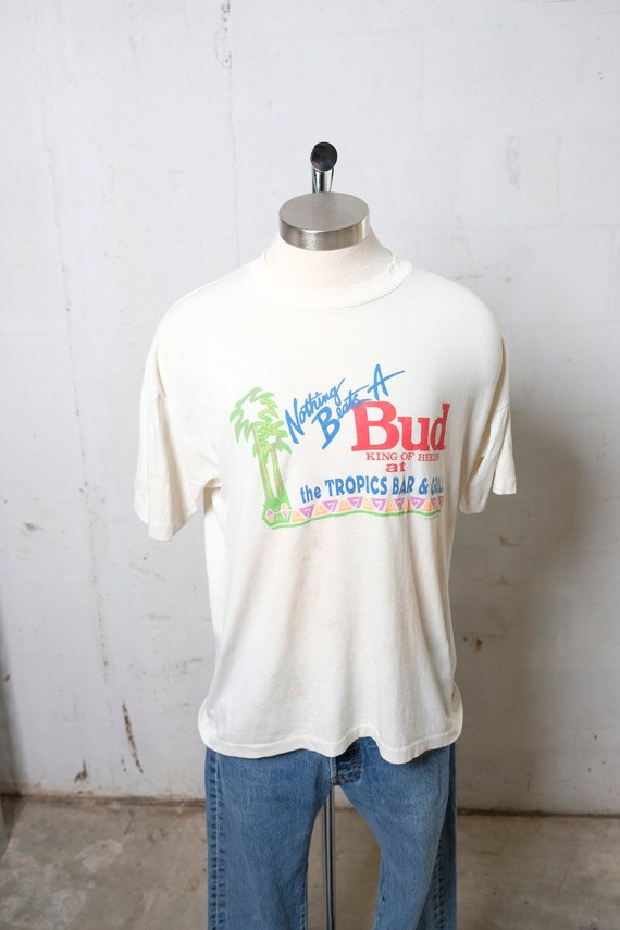 Vintage 1991 Nothing Beats A Bud Beer Tropics Bar & Grill T Shirt Soft! Thrashed! King Of Beers! XL