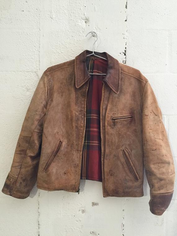 Vintage Amazing Rare Brown Leather Blanket Lined Biker Jacket M 1950's