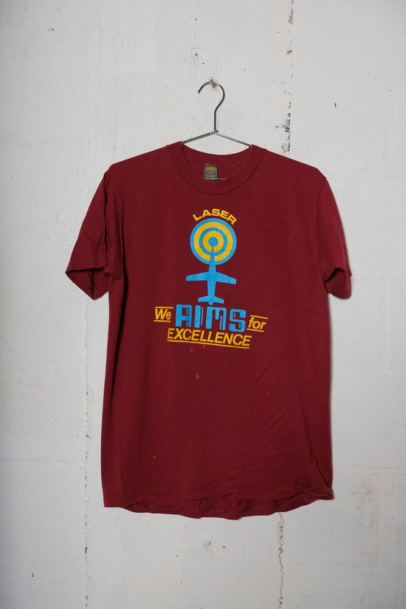 Vintage 80's General Electric Laser Aim For Excellence T Shirt Rare! Soft! L
