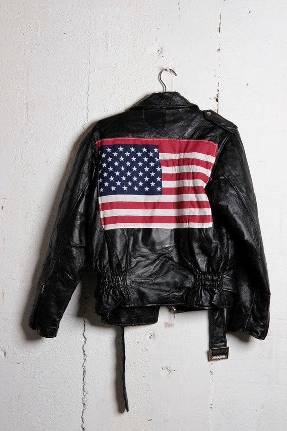 Vintage 80's American Flag Patch Leather Biker Moto Jacket S