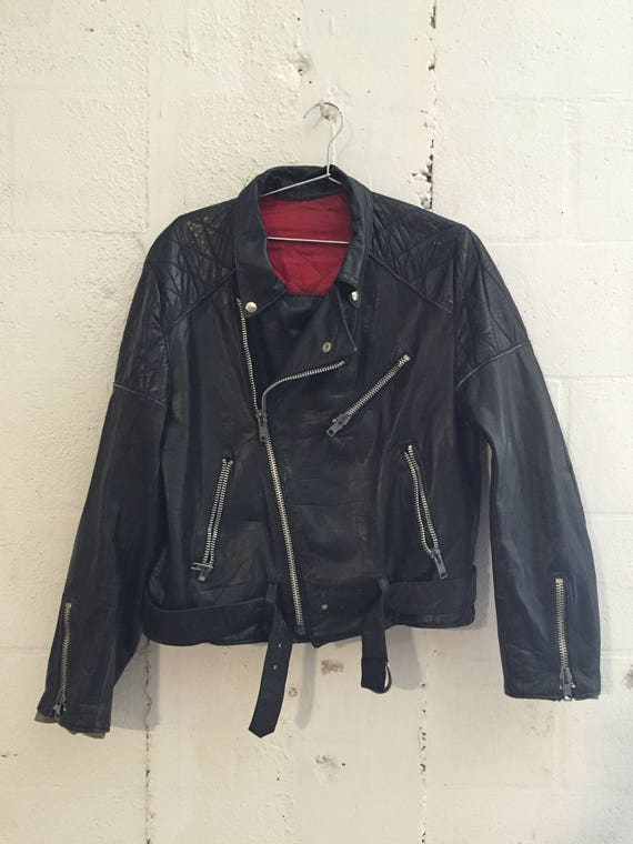 Vintage Honda Patch Black Leather Biker Jacket CHIC Zippers L
