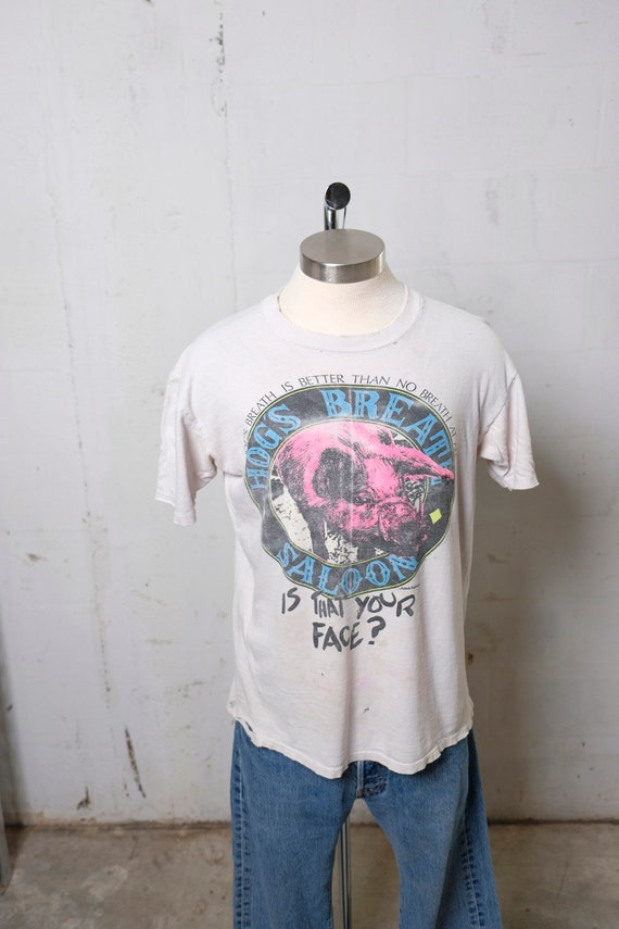 Vintage 90's Hogs Breath Saloon New Orleans T Shirt Thrashed! Soft! L