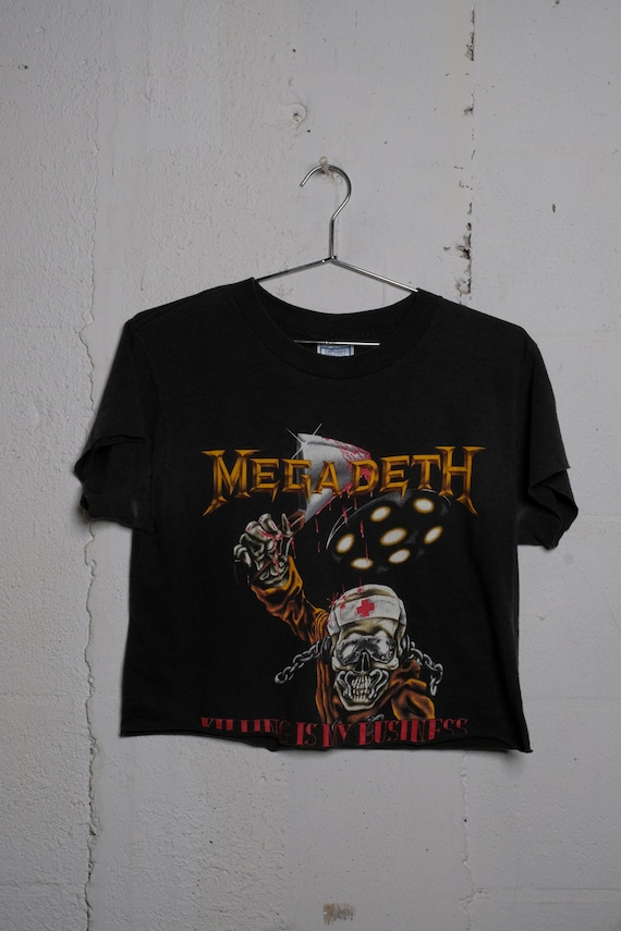 Vintage Megadeth Killing Is My Business 1988 Rock Tour Concert Band T Shirt Cropped! Soft! L