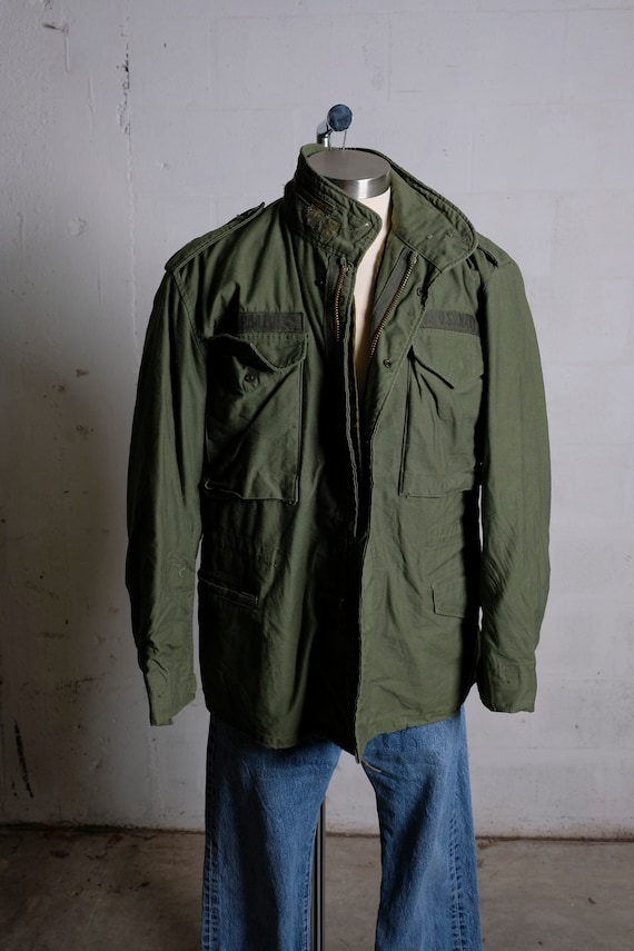 Vintage 70's US Navy Cold Weather Coat Olive Green Lined Small