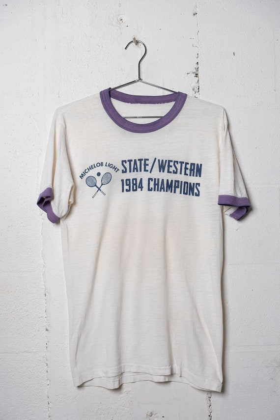Vintage 1984 Michelob Light Illinois State Western Tennis Champs Ringer T Shirt Thrashed! Soft! Thin! L