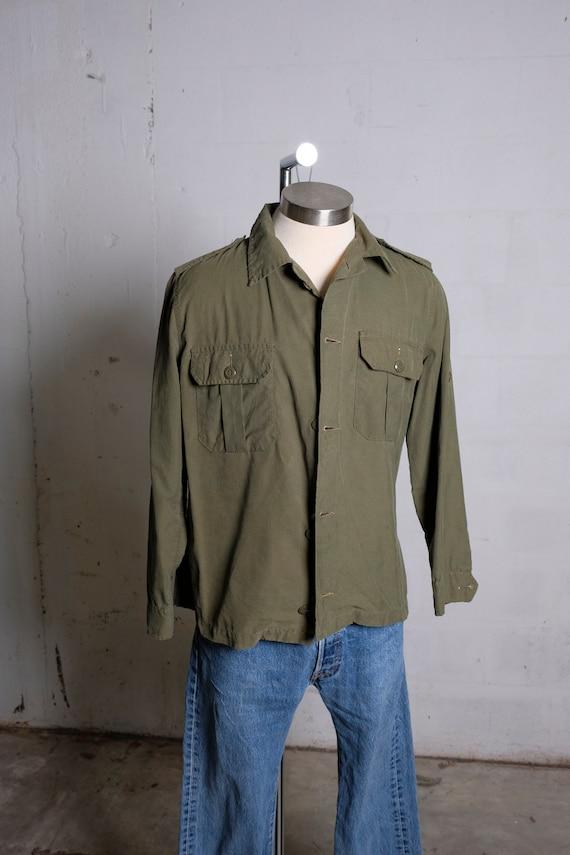 Vintage Rare Tag 1985 US Army Cadet Training Jacket Shirt Olive Green Sz 6738