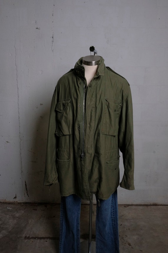 Vintage 70's US Army Issue M65 Style Jacket Olive Green L