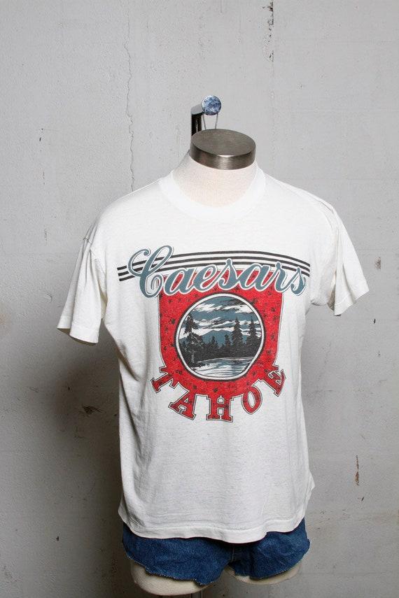 Vintage 80's Caesars Lake Tahoe T Shirt Burnout Soft! Thin! White S