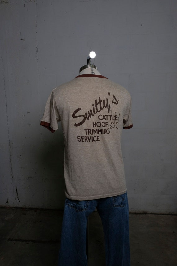 Vintage 80's Smitty's Cattle Hoof Trimming Service Ringer T Shirt Soft! L