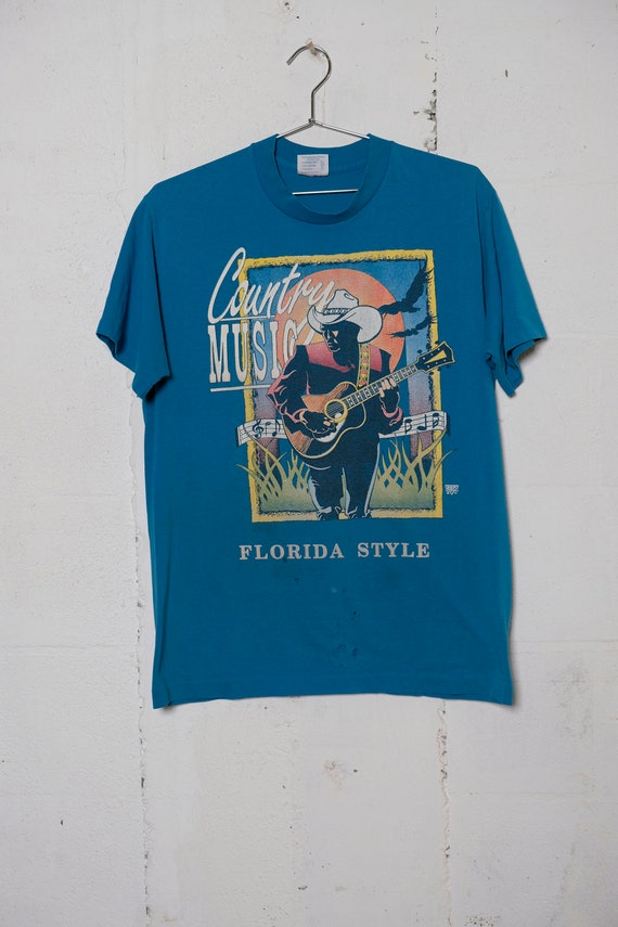 Vintage 80's County Music Florida Style Cracker T Shirt Soft! Thrashed! L