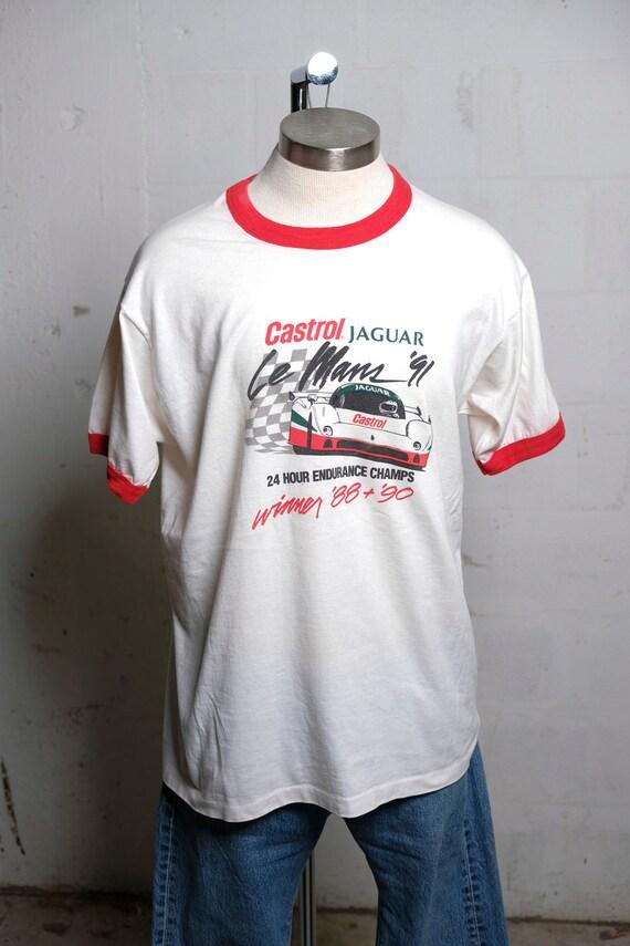 Vintage 1991 Castrol Jaguar Le Mans 24 Hour Endurance Auto Race Ringer T Shirt Soft! XL
